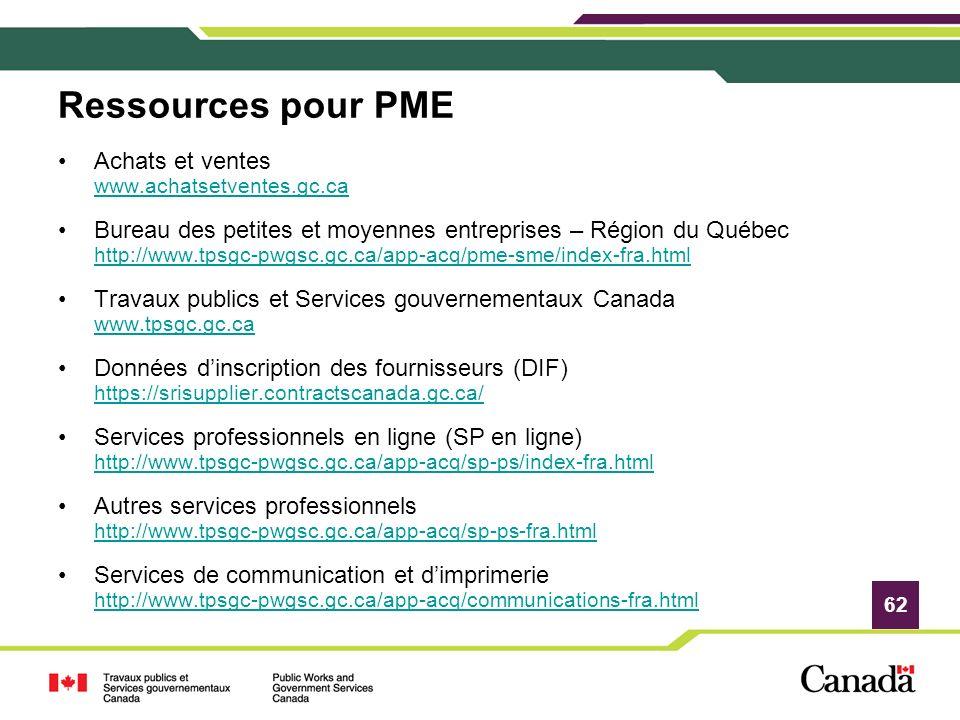 62 Ressources pour PME Achats et ventes www.achatsetventes.gc.ca www.achatsetventes.gc.ca Bureau des petites et moyennes entreprises – Région du Québe