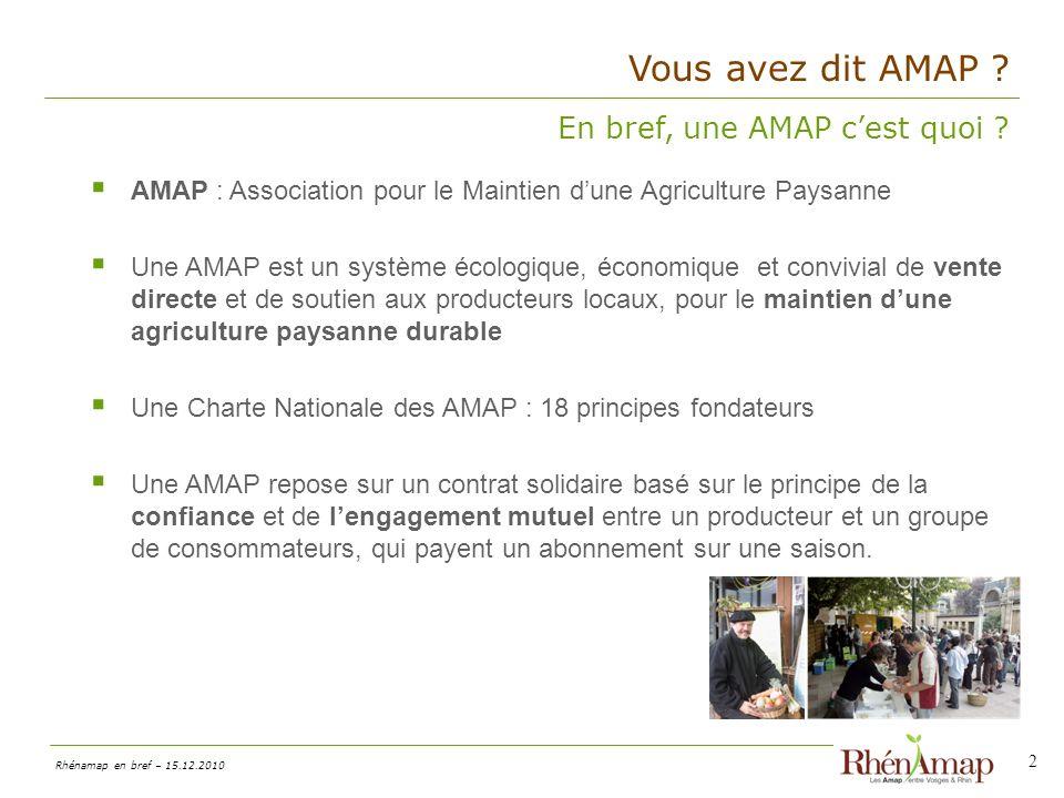Rhénamap en bref – 15.12.2010 Vous avez dit AMAP .