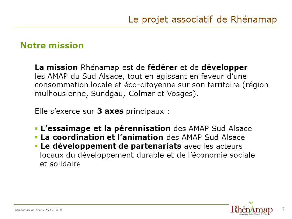 Rhénamap en bref – 15.12.2010 18 Vos contacts : Frédéric Schwab, Président frederic.schwab@rhenamap.org Lionel LHaridon, Vice Président lionel.lharidon@rhenamap.org
