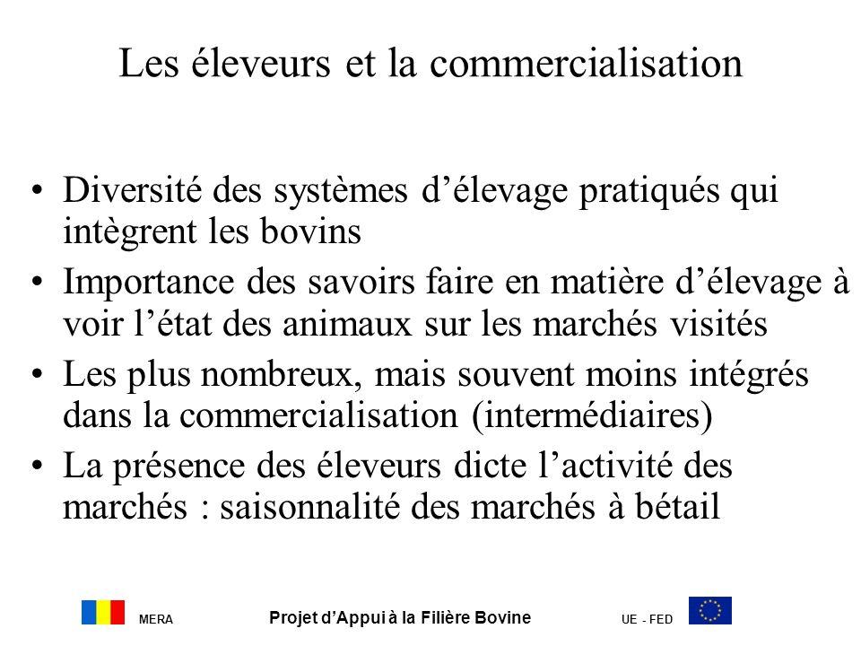 MERA Projet dAppui à la Filière Bovine UE - FED Les éleveurs et la commercialisation Diversité des systèmes délevage pratiqués qui intègrent les bovin