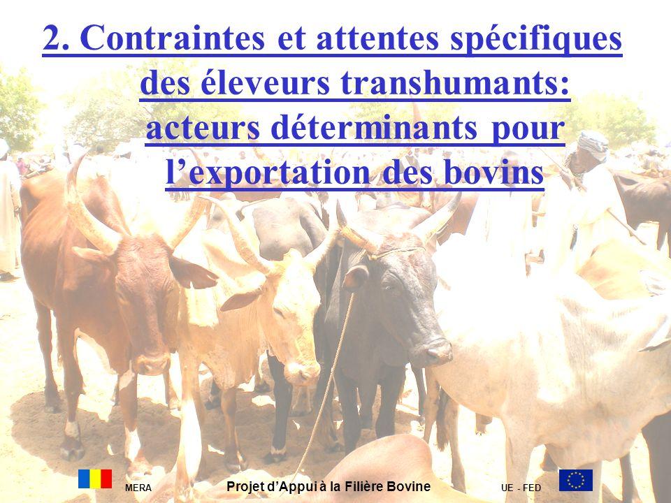 2. Contraintes et attentes spécifiques des éleveurs transhumants: acteurs déterminants pour lexportation des bovins MERA Projet dAppui à la Filière Bo