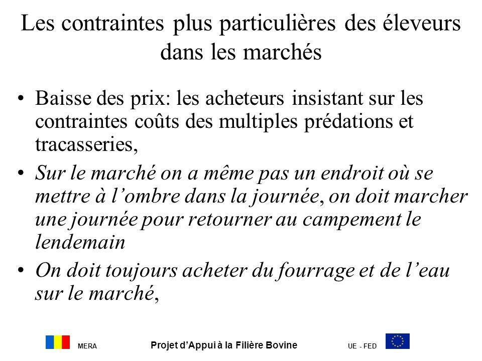 MERA Projet dAppui à la Filière Bovine UE - FED Les contraintes plus particulières des éleveurs dans les marchés Baisse des prix: les acheteurs insist