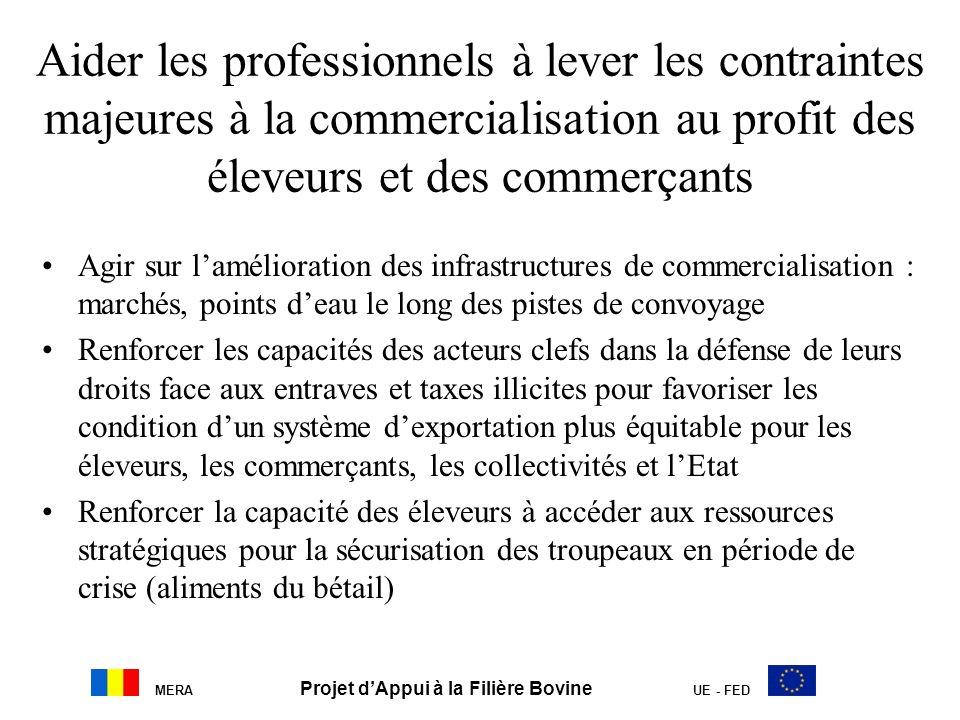 MERA Projet dAppui à la Filière Bovine UE - FED Aider les professionnels à lever les contraintes majeures à la commercialisation au profit des éleveur