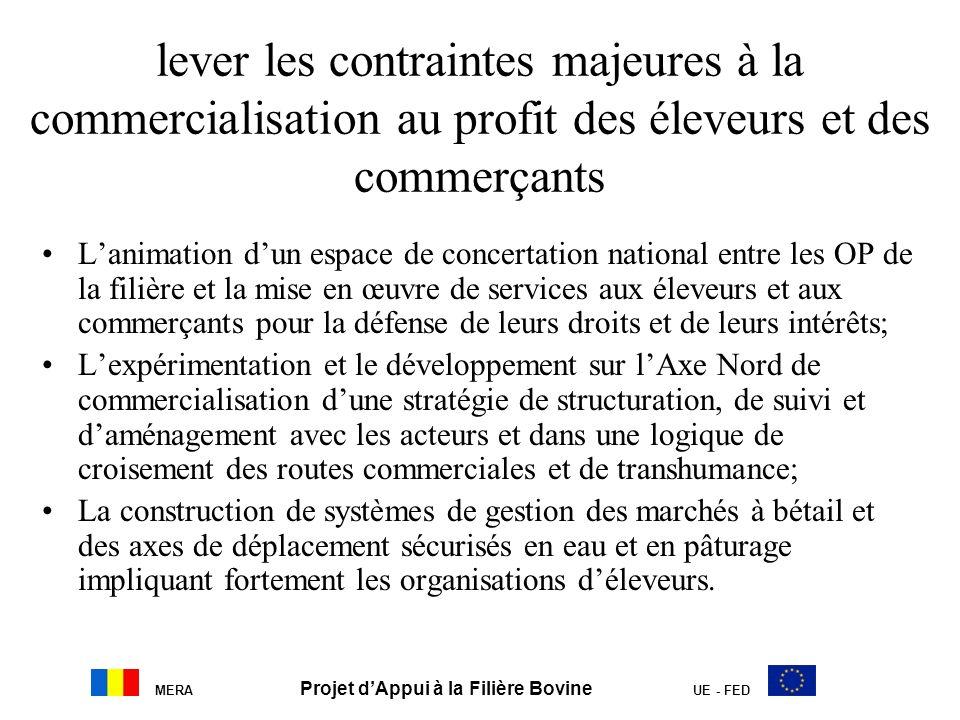 MERA Projet dAppui à la Filière Bovine UE - FED lever les contraintes majeures à la commercialisation au profit des éleveurs et des commerçants Lanima