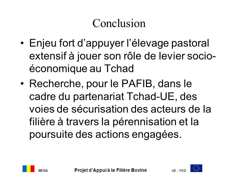 MERA Projet dAppui à la Filière Bovine UE - FED Conclusion Enjeu fort dappuyer lélevage pastoral extensif à jouer son rôle de levier socio- économique