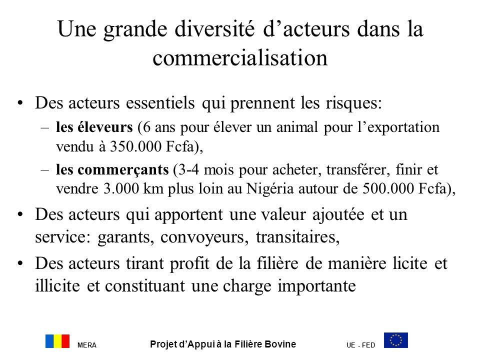 MERA Projet dAppui à la Filière Bovine UE - FED Une grande diversité dacteurs dans la commercialisation Des acteurs essentiels qui prennent les risque