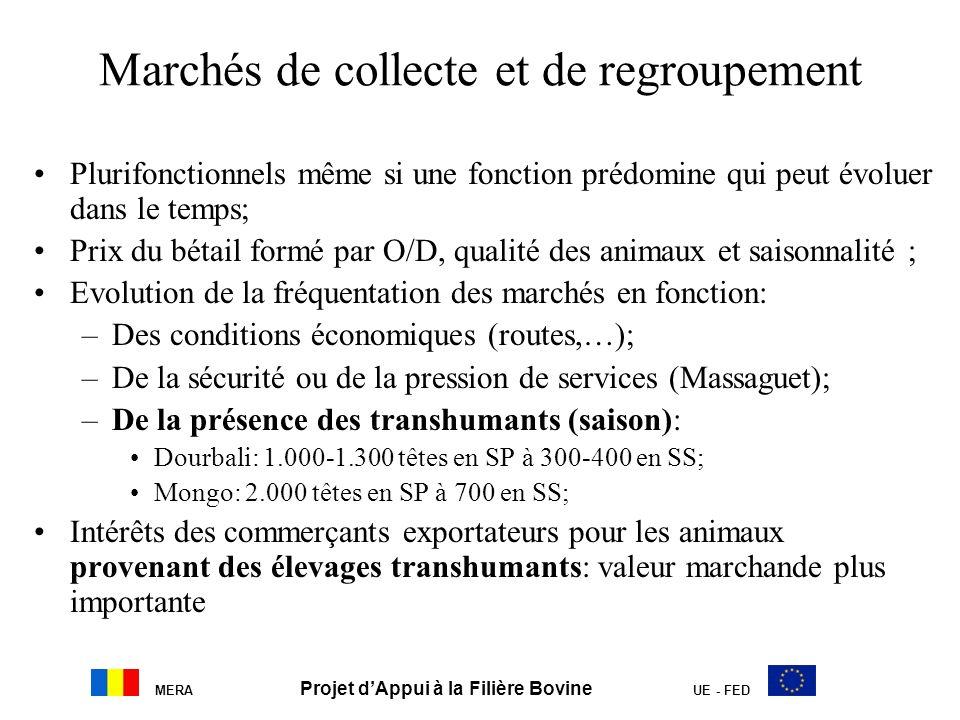 Marchés de collecte et de regroupement Plurifonctionnels même si une fonction prédomine qui peut évoluer dans le temps; Prix du bétail formé par O/D,
