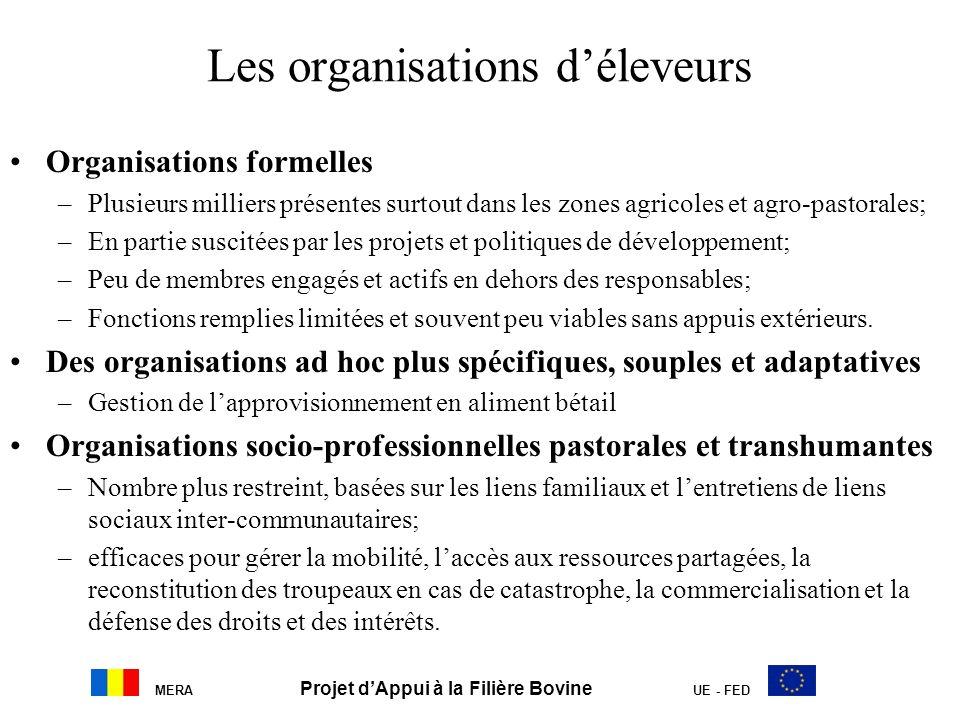 MERA Projet dAppui à la Filière Bovine UE - FED Les organisations déleveurs Organisations formelles –Plusieurs milliers présentes surtout dans les zon
