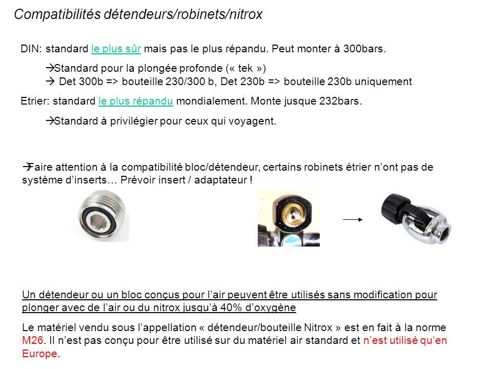 Compatibilités détendeurs/robinets/nitrox DIN: standard le plus sûr mais pas le plus répandu. Peut monter à 300bars. Standard pour la plongée profonde