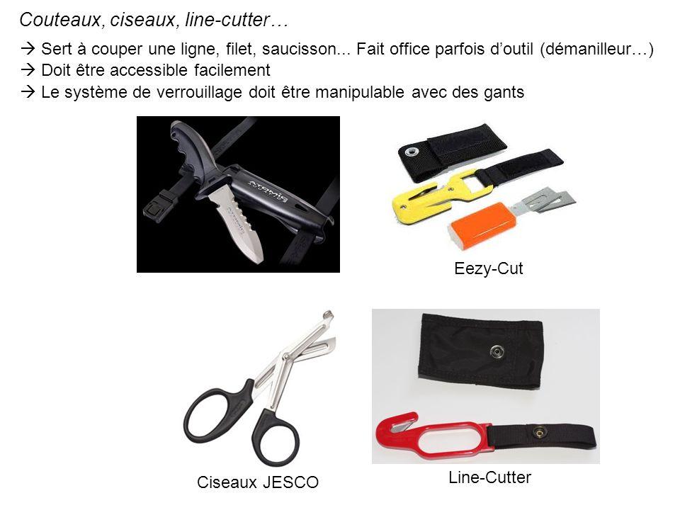Couteaux, ciseaux, line-cutter… Eezy-Cut Line-Cutter Sert à couper une ligne, filet, saucisson... Fait office parfois doutil (démanilleur…) Doit être
