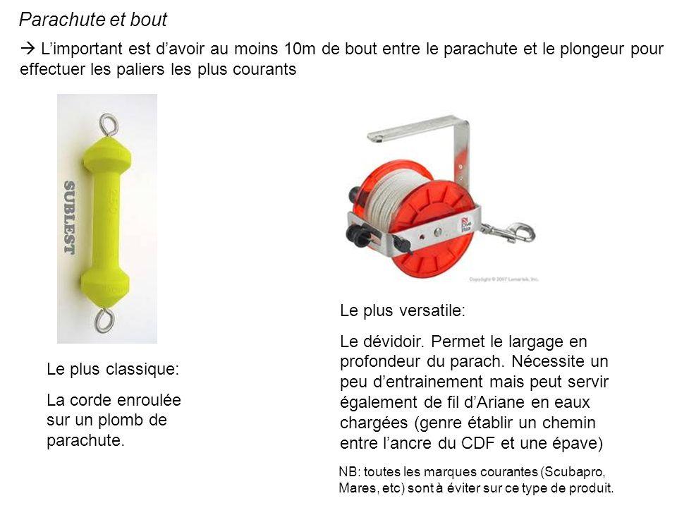 Parachute et bout Limportant est davoir au moins 10m de bout entre le parachute et le plongeur pour effectuer les paliers les plus courants Le plus cl