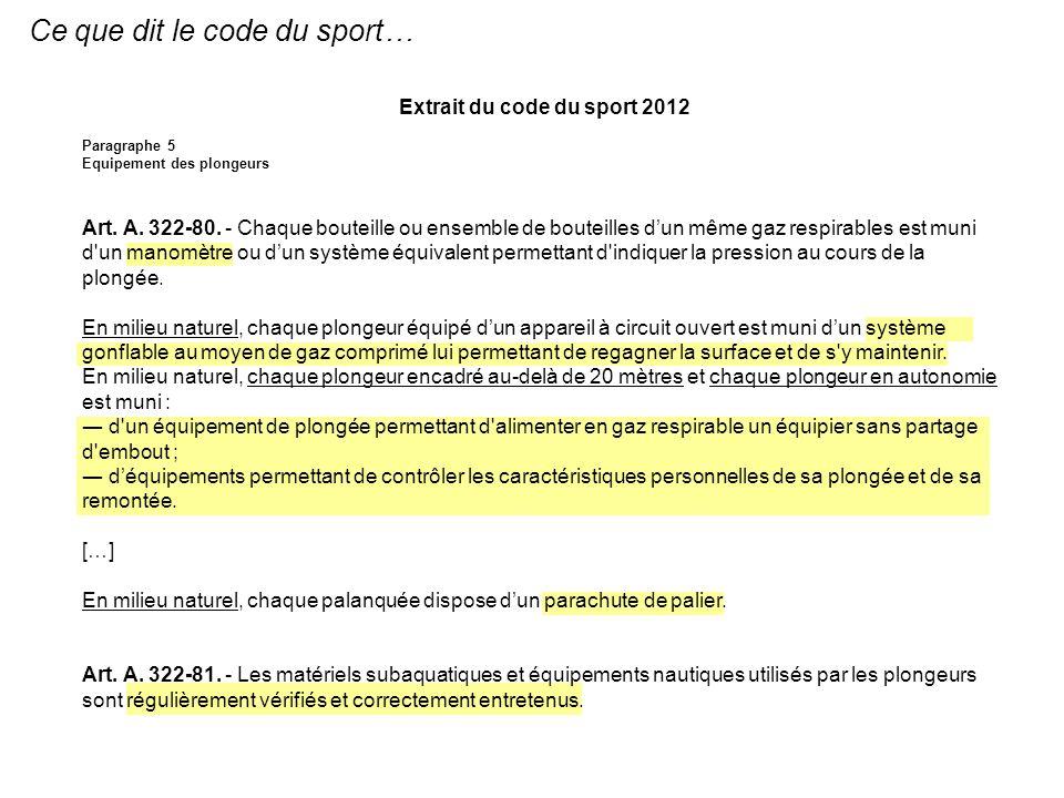 Ce que dit le code du sport… Extrait du code du sport 2012 Paragraphe 5 Equipement des plongeurs Art. A. 322-80. - Chaque bouteille ou ensemble de bou