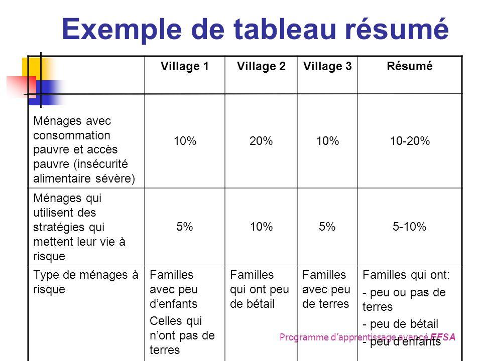 Programme dapprentissage avanc é EFSA Exemple de tableau résumé Village 1Village 2Village 3Résumé Ménages avec consommation pauvre et accès pauvre (insécurité alimentaire sévère) 10%20%10%10-20% Ménages qui utilisent des stratégies qui mettent leur vie à risque 5%10%5%5-10% Type de ménages à risque Familles avec peu denfants Celles qui nont pas de terres Familles qui ont peu de bétail Familles avec peu de terres Familles qui ont: - peu ou pas de terres - peu de bétail - peu denfants