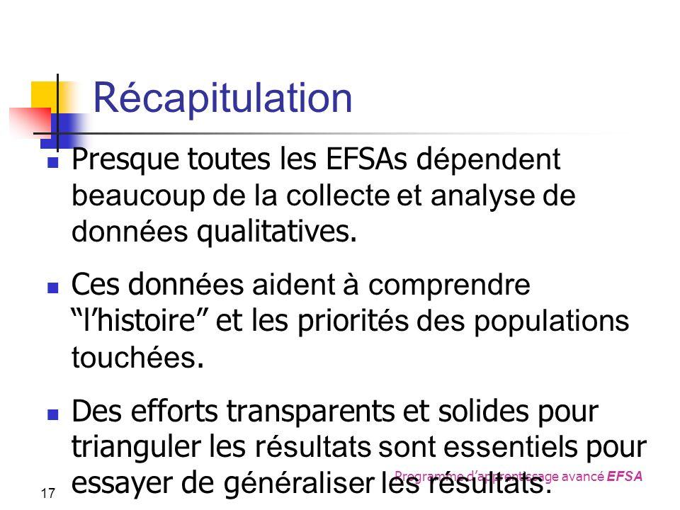 Programme dapprentissage avanc é EFSA R écapitulation Presque toutes les EFSAs d épendent beaucoup de la collecte et analyse de données qualitatives.