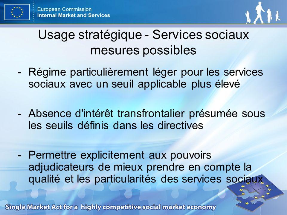 Usage stratégique - Services sociaux mesures possibles -Régime particulièrement léger pour les services sociaux avec un seuil applicable plus élevé -A