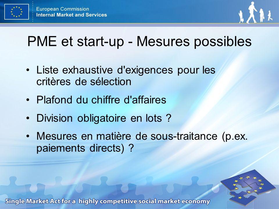 PME et start-up - Mesures possibles Liste exhaustive d'exigences pour les critères de sélection Plafond du chiffre d'affaires Division obligatoire en