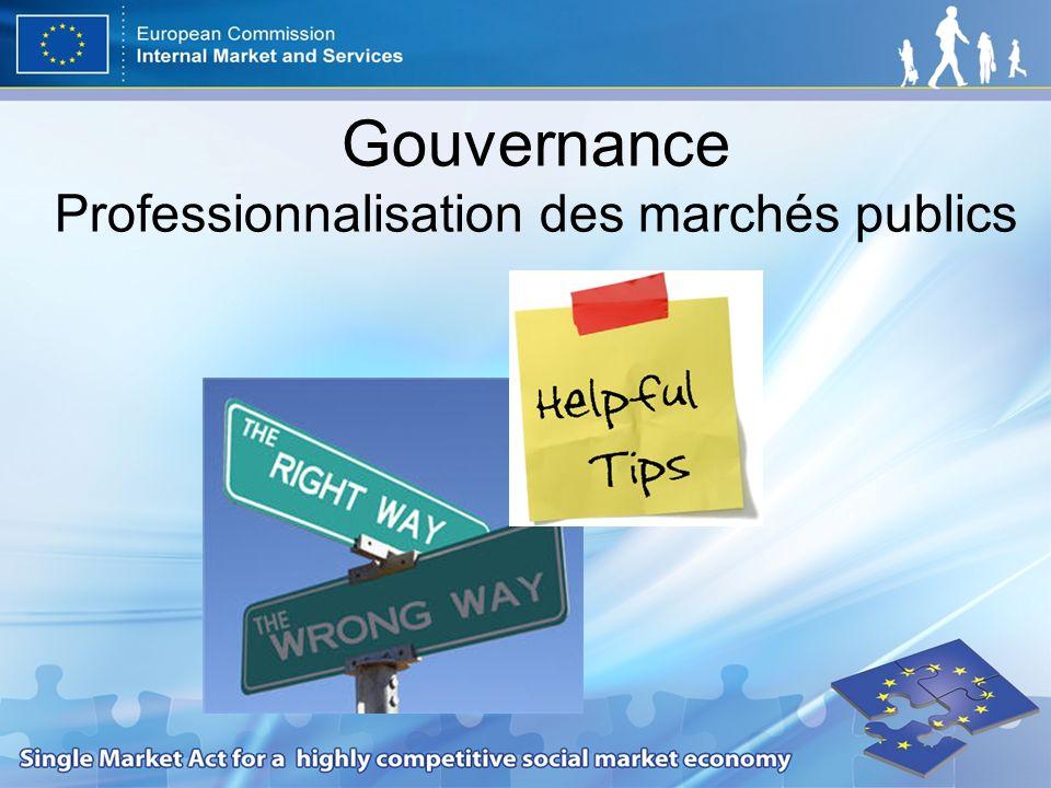 Gouvernance Professionnalisation des marchés publics