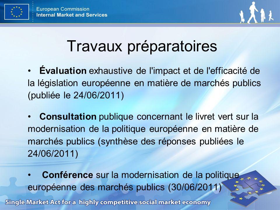 Travaux préparatoires Évaluation exhaustive de l impact et de l efficacité de la législation européenne en matière de marchés publics (publiée le 24/06/2011) Consultation publique concernant le livret vert sur la modernisation de la politique européenne en matière de marchés publics (synthèse des réponses publiées le 24/06/2011) Conférence sur la modernisation de la politique européenne des marchés publics (30/06/2011)