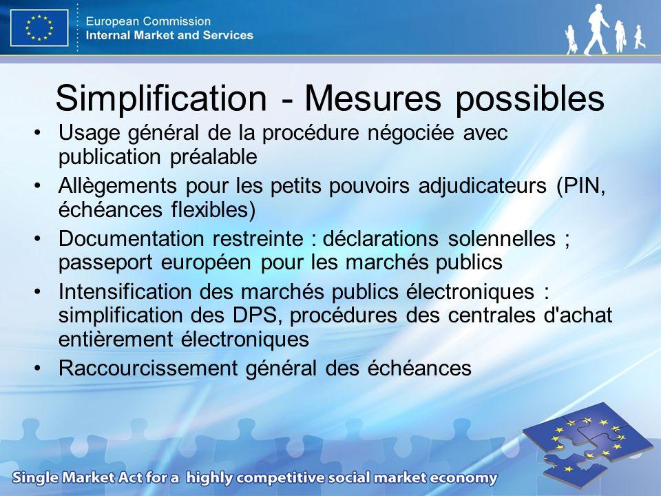 Simplification - Mesures possibles Usage général de la procédure négociée avec publication préalable Allègements pour les petits pouvoirs adjudicateur