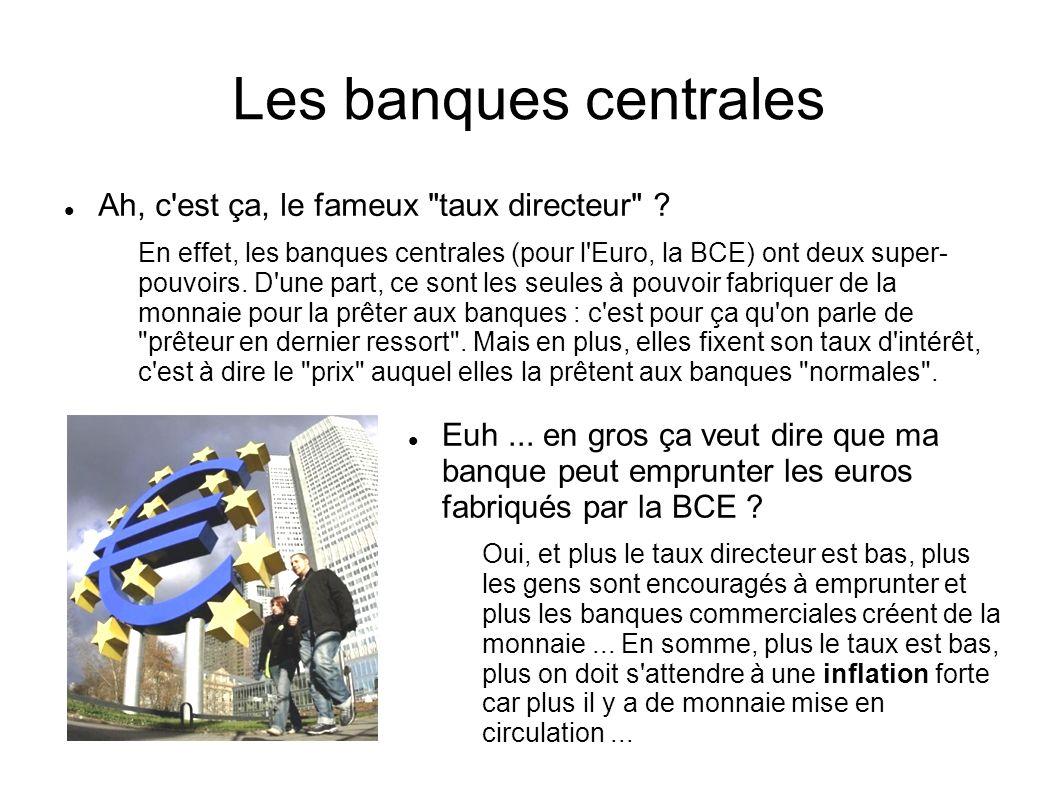 Les banques centrales Euh... en gros ça veut dire que ma banque peut emprunter les euros fabriqués par la BCE ? Oui, et plus le taux directeur est bas