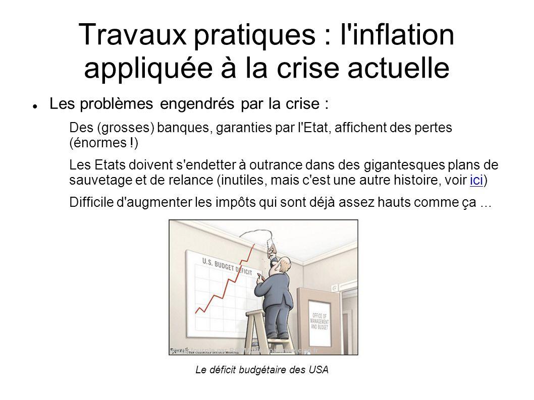 Travaux pratiques : l'inflation appliquée à la crise actuelle Les problèmes engendrés par la crise : Des (grosses) banques, garanties par l'Etat, affi