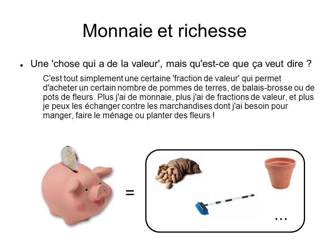 Monnaie et richesse Une 'chose qui a de la valeur', mais qu'est-ce que ça veut dire ? C'est tout simplement une certaine 'fraction de valeur' qui perm