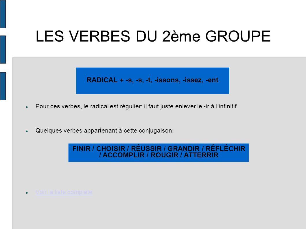 LES VERBES DU 3ème GROUPE Le radical de ces verbes est souvent variable.
