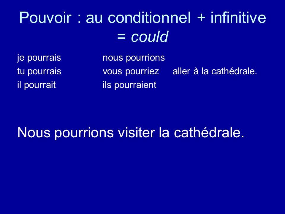 Pouvoir : au conditionnel + infinitive = could je pourraisnous pourrions tu pourraisvous pourriez aller à la cathédrale. il pourraitils pourraient Nou