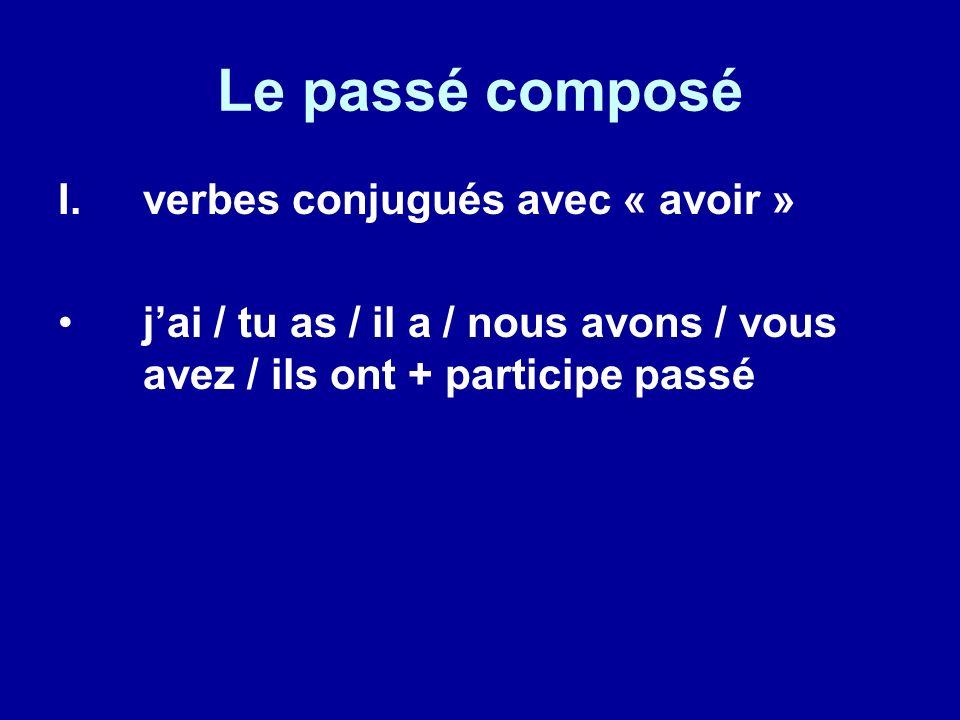Le passé composé I.verbes conjugués avec « avoir » jai / tu as / il a / nous avons / vous avez / ils ont + participe passé