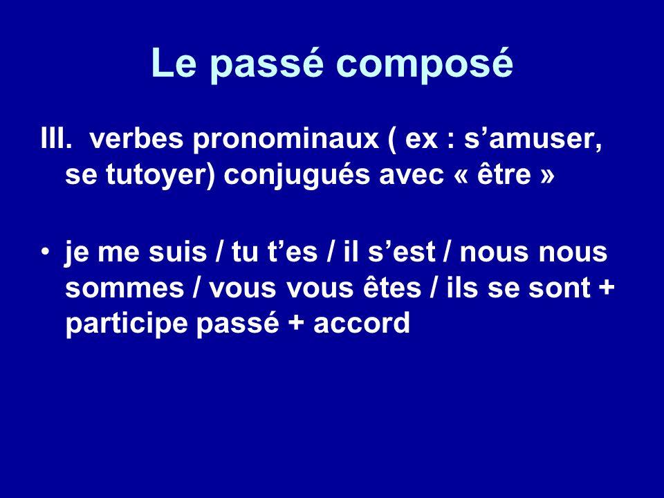 Le passé composé III. verbes pronominaux ( ex : samuser, se tutoyer) conjugués avec « être » je me suis / tu tes / il sest / nous nous sommes / vous v