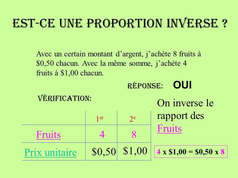 Est-ce une proportion inverse .Avec un certain montant dargent, jachète 8 fruits à $0,50 chacun.
