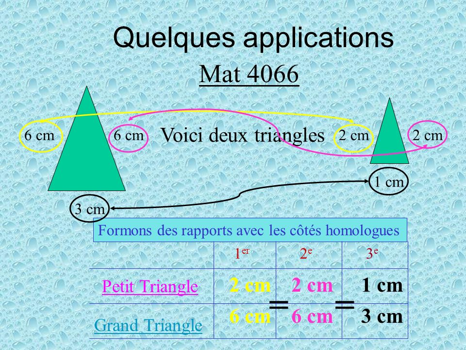 Quelques applications Mat 4068 Sin 45º = 1 7 1 = 7 x sin 45º = 7 x 0,7071 = 4,949 Proportion Application de la loi Isolation de la variable