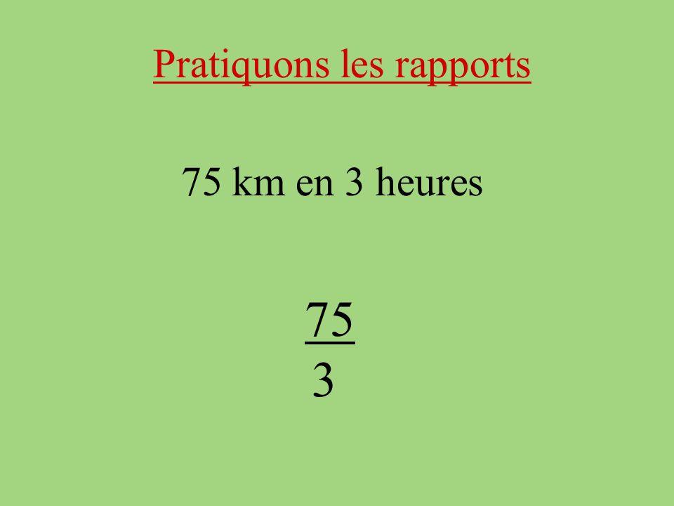 Pratiquons les rapports 75 km en 3 heures 75 3