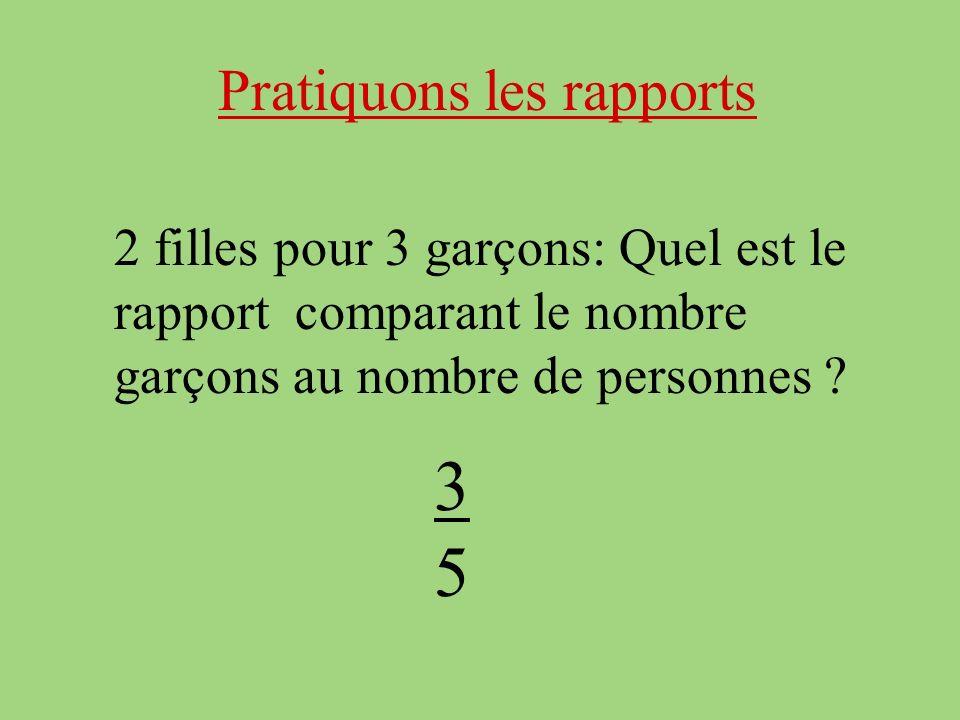 Pratiquons les rapports 2 filles pour 3 garçons: Quel est le rapport comparant le nombre garçons au nombre de personnes .