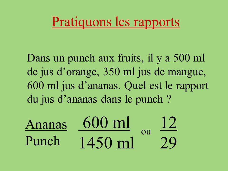Pratiquons les rapports Dans un punch aux fruits, il y a 500 ml de jus dorange, 350 ml jus de mangue, 600 ml jus dananas.