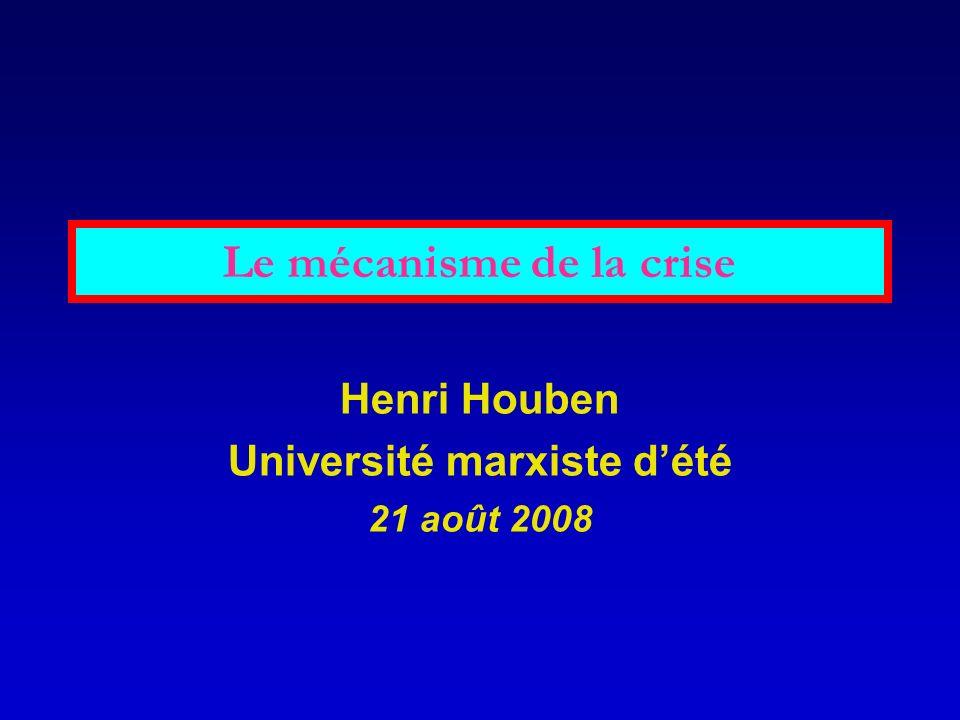 Le mécanisme de la crise Henri Houben Université marxiste dété 21 août 2008