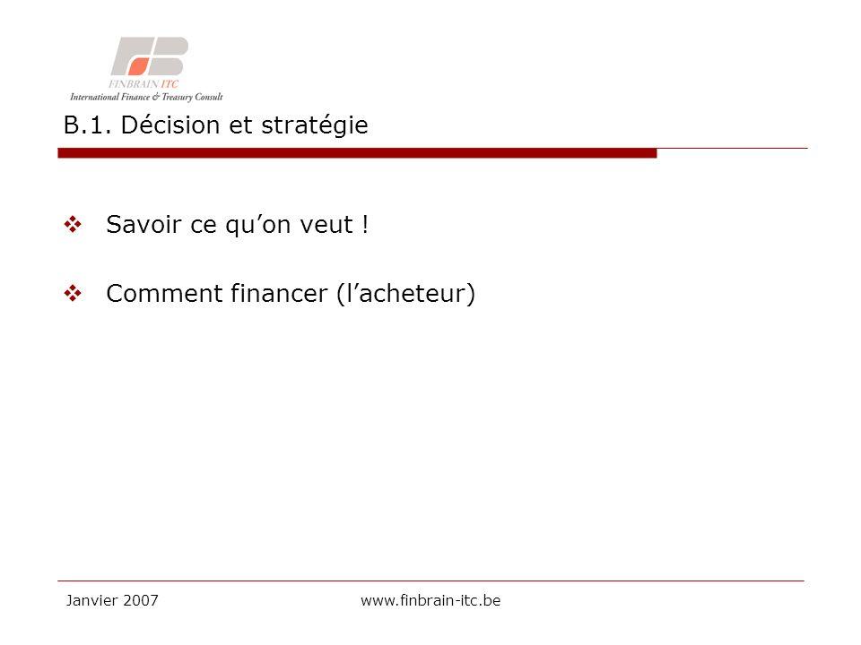 Janvier 2007www.finbrain-itc.be B.1. Décision et stratégie Savoir ce quon veut .