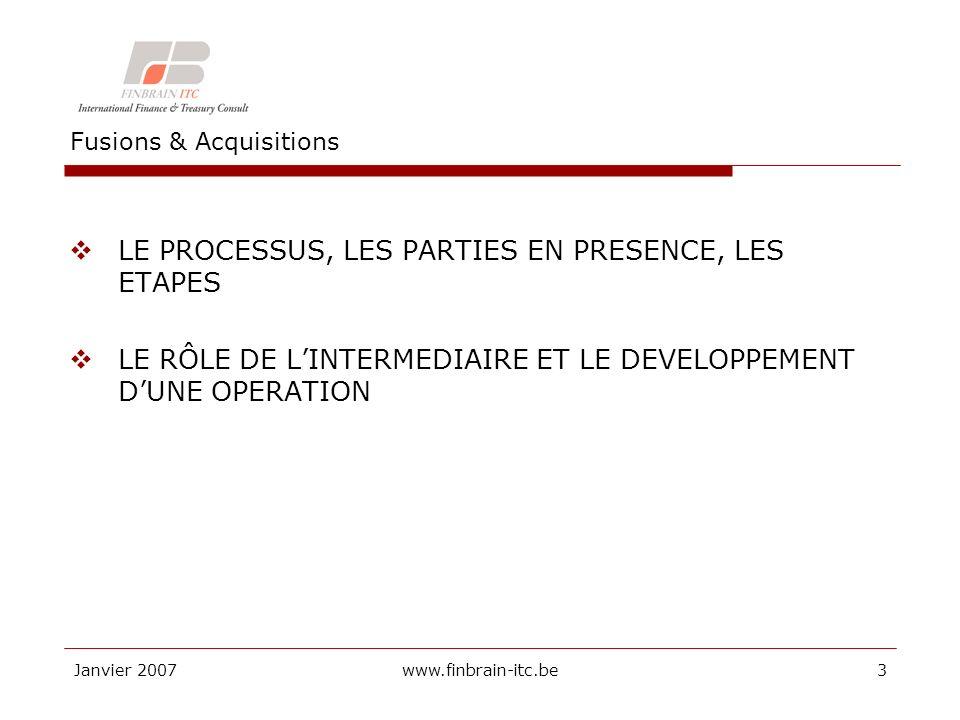 Janvier 2007www.finbrain-itc.be A.Transactions et parties en présence A.1.