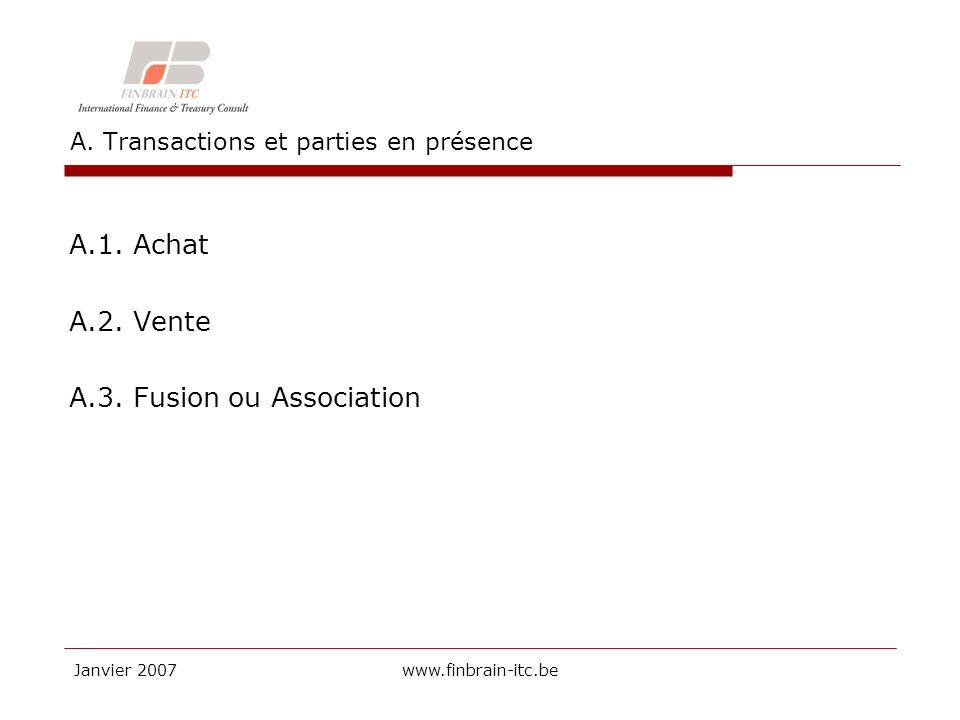 Janvier 2007www.finbrain-itc.be A. Transactions et parties en présence A.1.