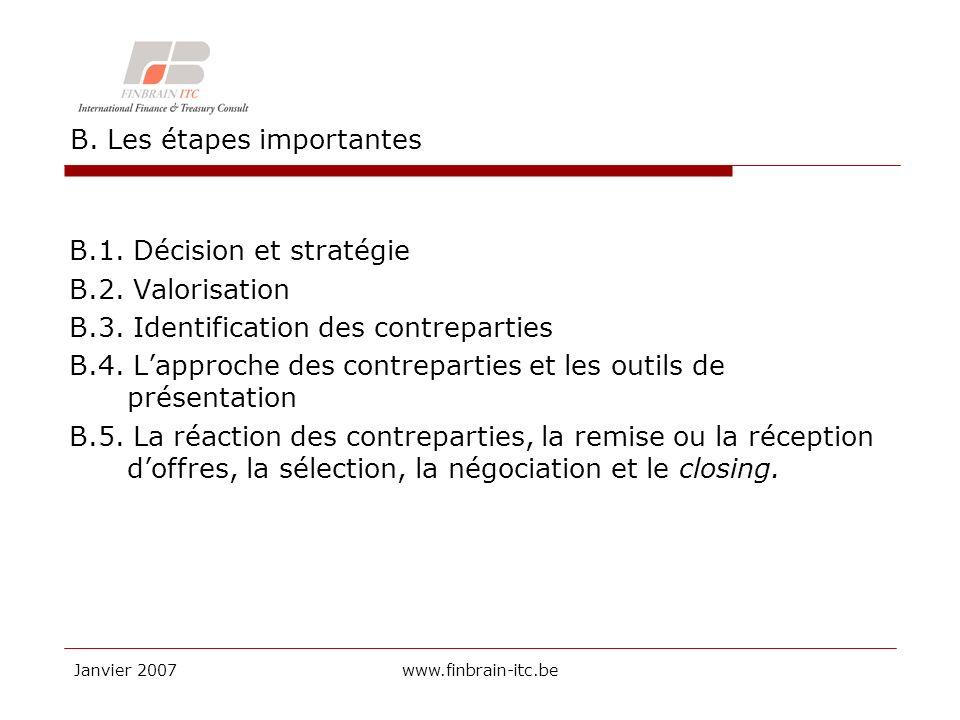 Janvier 2007www.finbrain-itc.be B. Les étapes importantes B.1.