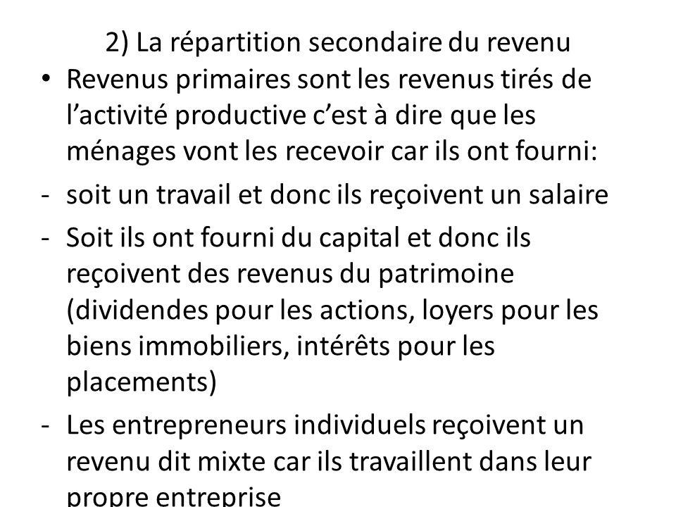 2) La répartition secondaire du revenu Revenus primaires sont les revenus tirés de lactivité productive cest à dire que les ménages vont les recevoir