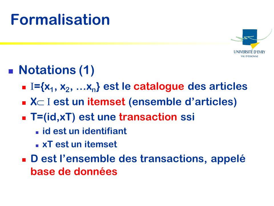 Formalisation Notations (1) ={x 1, x 2, …x n } est le catalogue des articles X est un itemset (ensemble darticles) T=(id,xT) est une transaction ssi i