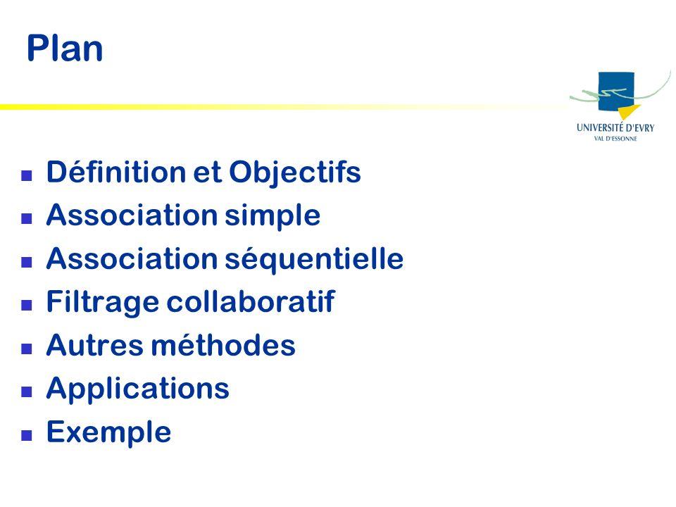 Application typique : Web usage Mining Analyse des séquences de navigation sur un site (A B C A C B) Forme générale dune séquence daction: Le client a effectué laction A, puis simultanément les actions B et C, puis laction D.