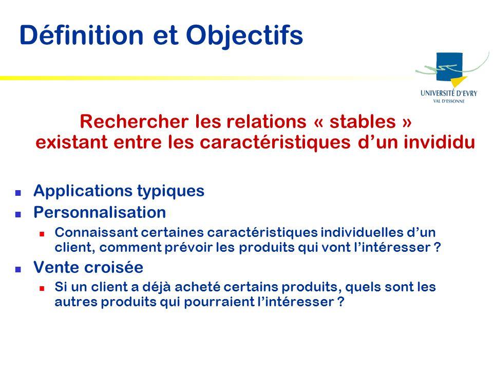 Définition et Objectifs Rechercher les relations « stables » existant entre les caractéristiques dun invididu Applications typiques Personnalisation C
