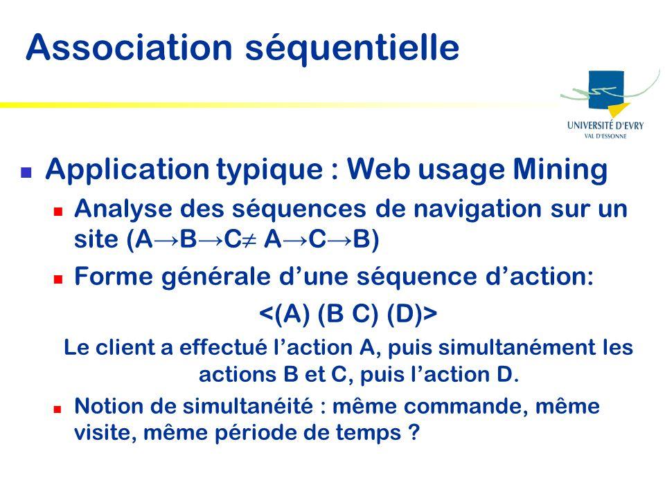 Application typique : Web usage Mining Analyse des séquences de navigation sur un site (A B C A C B) Forme générale dune séquence daction: Le client a