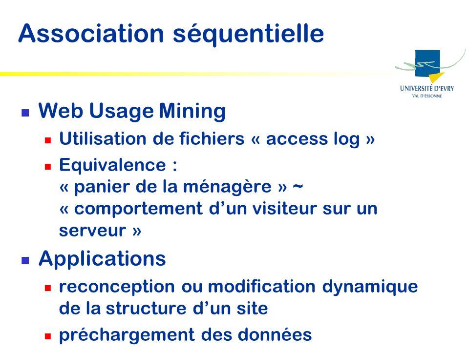 Association séquentielle Web Usage Mining Utilisation de fichiers « access log » Equivalence : « panier de la ménagère » ~ « comportement dun visiteur