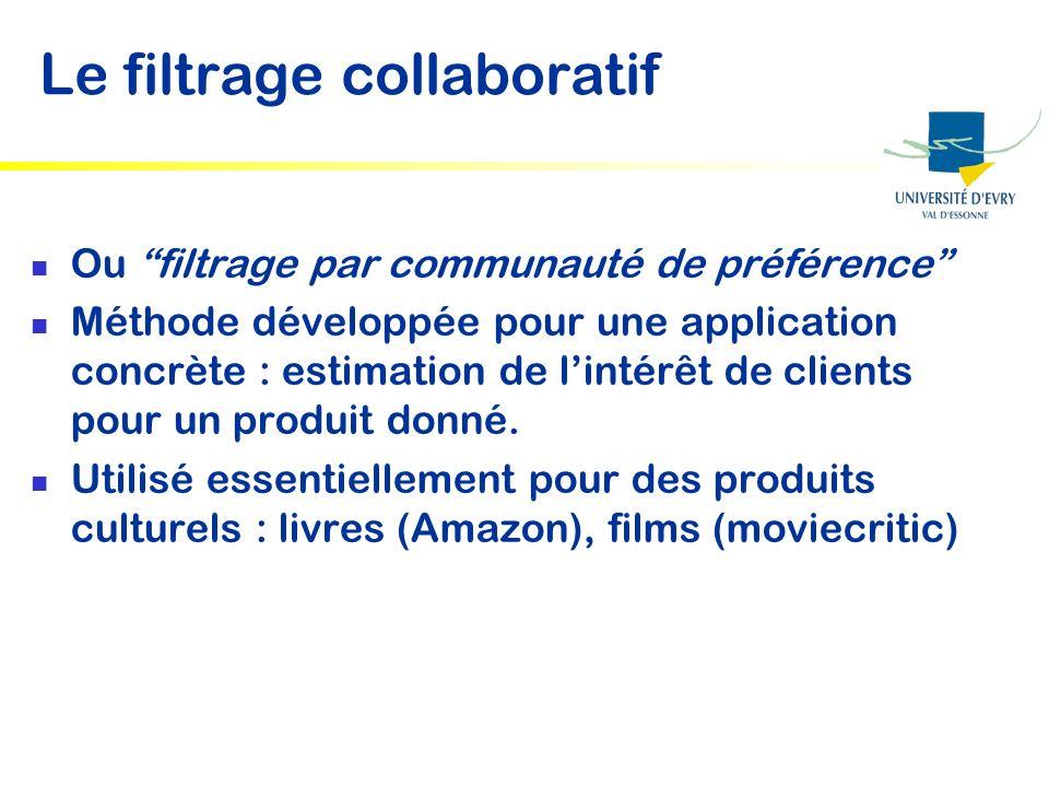 Le filtrage collaboratif Ou filtrage par communauté de préférence Méthode développée pour une application concrète : estimation de lintérêt de clients