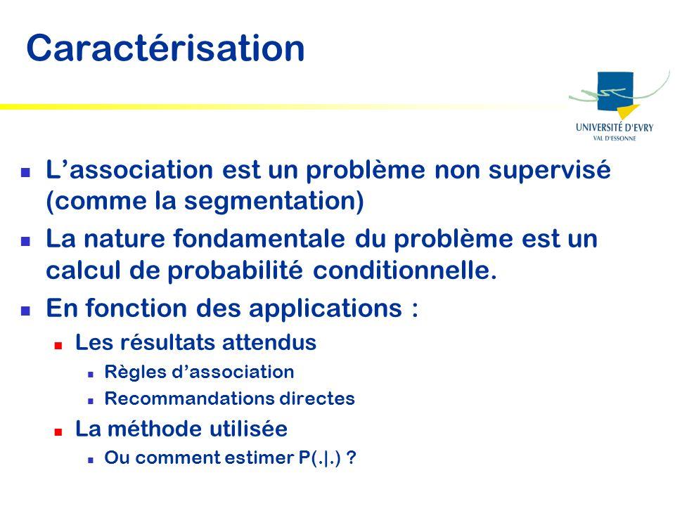Caractérisation Lassociation est un problème non supervisé (comme la segmentation) La nature fondamentale du problème est un calcul de probabilité con