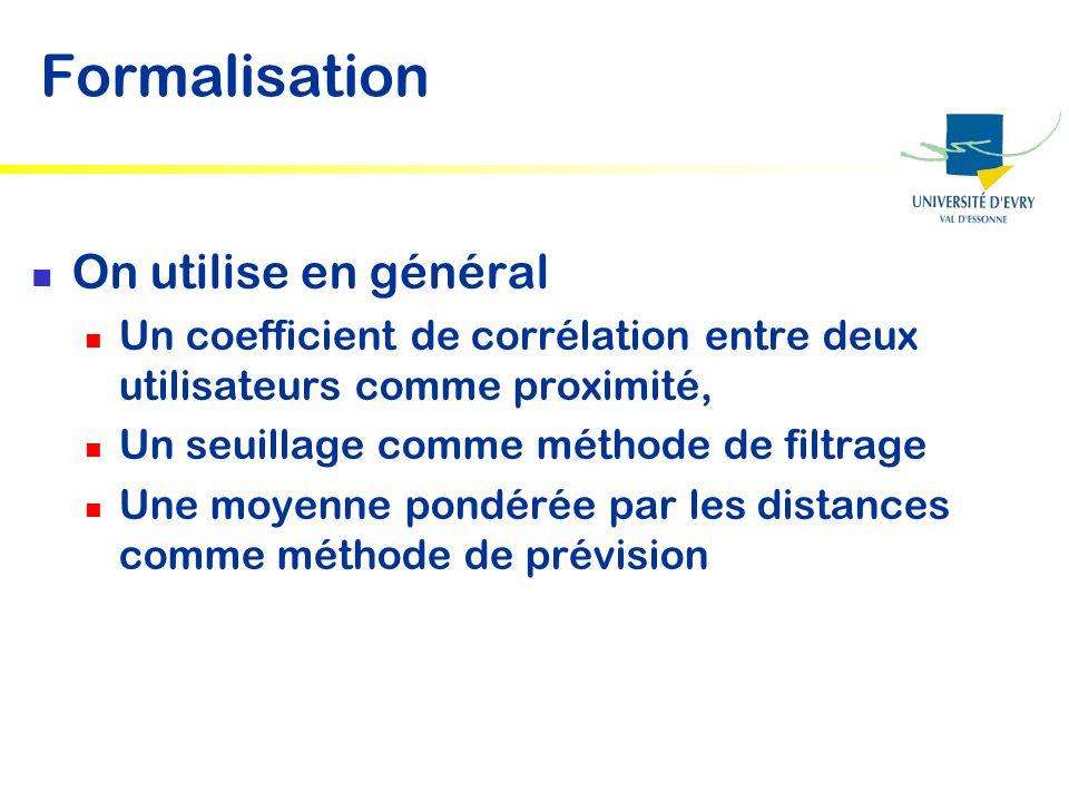 Formalisation On utilise en général Un coefficient de corrélation entre deux utilisateurs comme proximité, Un seuillage comme méthode de filtrage Une