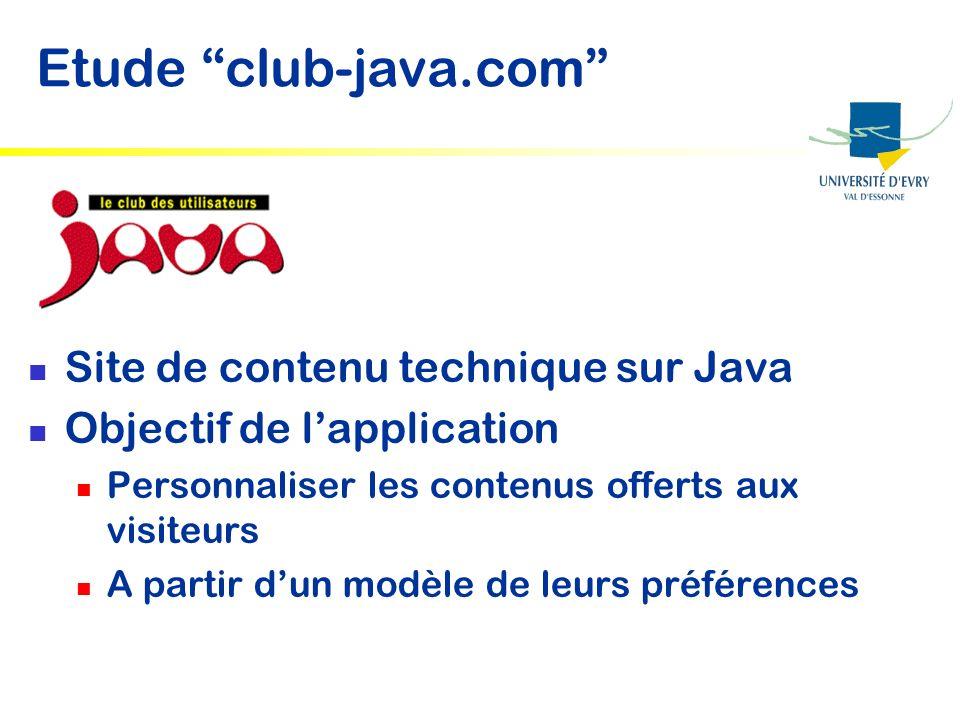 Etude club-java.com Site de contenu technique sur Java Objectif de lapplication Personnaliser les contenus offerts aux visiteurs A partir dun modèle d